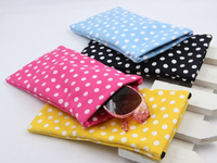Design printed cotton bag for sunglasses with leaf spring D99