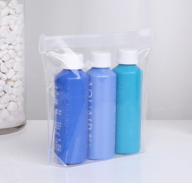 Environmentally friendly eva bag Zipper bag Transparent waterproof cosmetic small bag Customized degradable plastic packaging bag