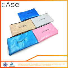 High quality zipper leather glasses bag