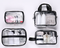 Environmentally friendly multi-function transparent tpu cosmetic bag Travel Large-capacity waterproof wash storage bag set of four