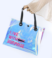2009 New Transparent Handbag Laser TPU Button Waterproof Travel Bag Environmentally Friendly Fashion Women's Bag