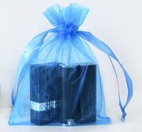 Blue mesh bundle pocket cosmetics sample dustproof storage drawstring bag environmental protection transparent gift jewelry bag