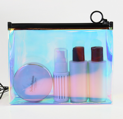 Transparent and environmentally friendly laser TPU receiving bag zipper portable plastic waterproof cosmetics gift packaging bag