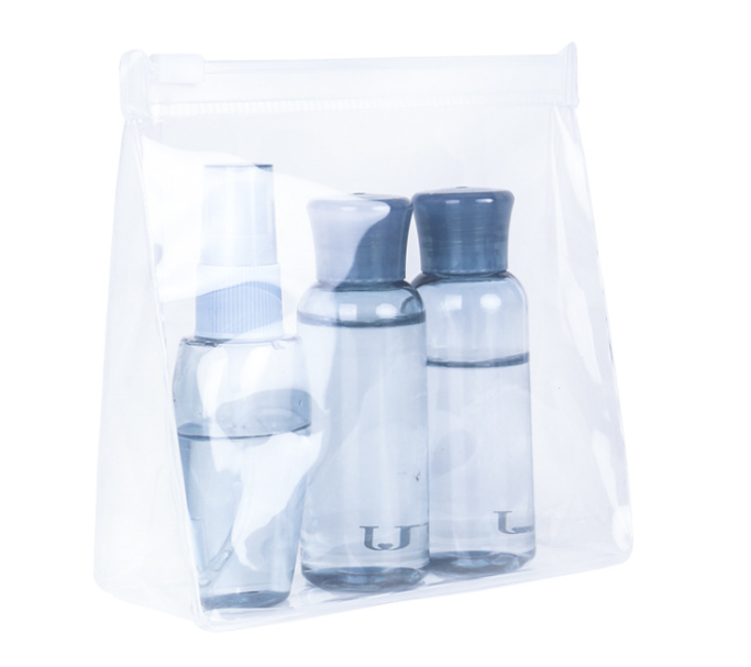 Environmentally friendly eva bag Transparent toothless zipper stand-up bag Size cosmetics sample storage bag