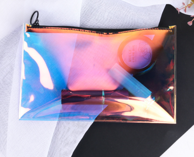 Environmentally friendly transparent laser TPU receiving bag toothed zipper bag plastic waterproof cosmetics gift packaging bag