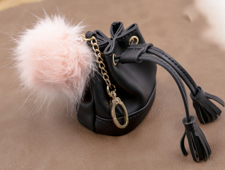 2021 Sunglasses, Small Black Leather Bag for Girls, Can Hold A Variety of Small Items Or Makeup Case, The Appearance Is Beautifully Decorated, with Straps And Pompon Decoration