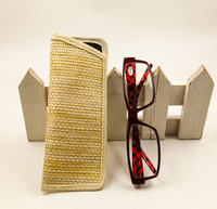 2021 Sunglasses, Hand-woven, Khaki Leather Glasses Bag