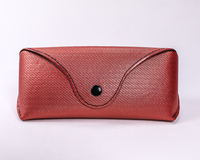 2021 Glasses case Sunglasses red glasses case, the appearance of a small leather bag