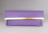 Purple Glasses Case Printed with LOGO And Set with Gold Edge, Looks Like A Small Leather Bag